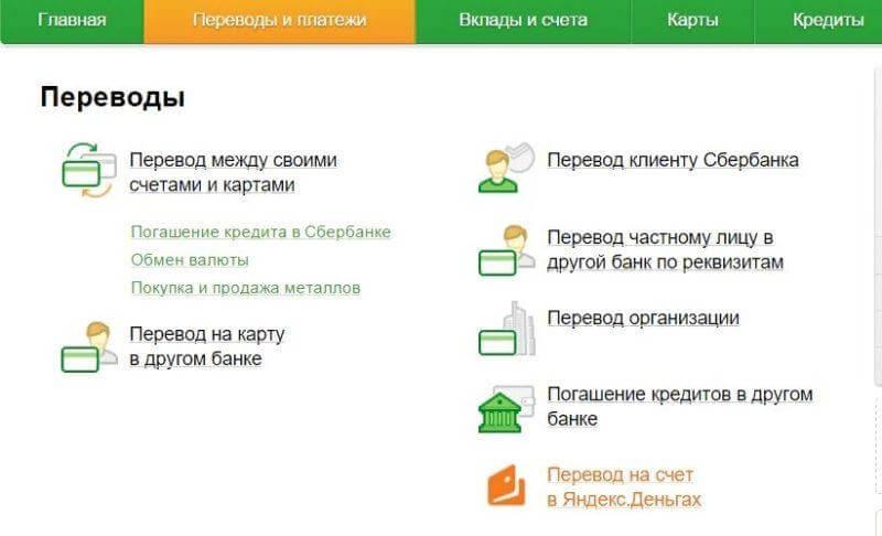 Как перевести деньги на Яндекс Кошелек через Сбербанк